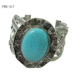 Oval Turquoise Stone Cuff Bangle