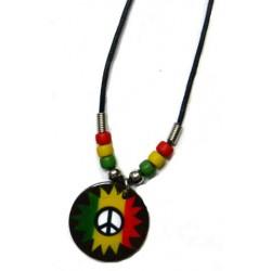 Rasta Peace Sign Coco Necklace