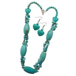 Turquoise Stone Necklace And Earring Set
