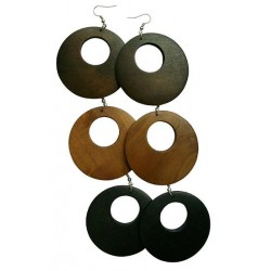 Round Wood Earrings - Cut Out
