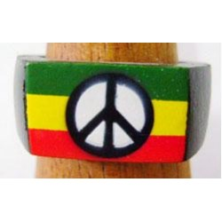 Rasta Peace Sign Wood Ring