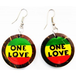 """One Love"" Rasta Coconut Earring"