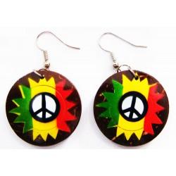 Rasta Peace Sign Coconut Earrings