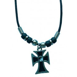 Ying-Yang Cross Pendant Metal Necklace