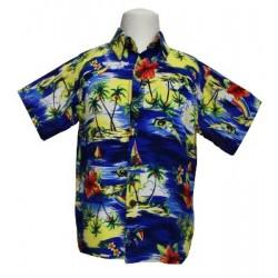 Boy's Aloha Shirt (Blue) Small/Medium
