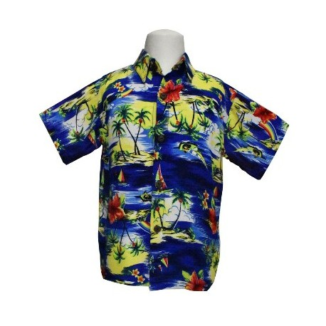 Boy's Aloha Shirt (Blue) Small/Medium