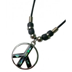 Paua Peace Sign Pendant Necklace