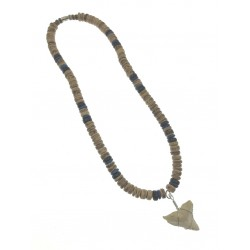 8MM Coconut With Resin Shark's Tooth Pendant Necklace