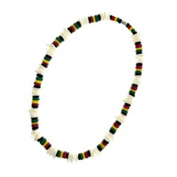 "18"" Rasta With Coconut Necklace"