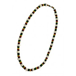 "24"" Rasta Shell With Coconut Necklace"