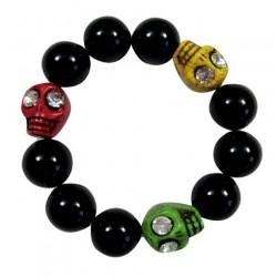 Rasta Skull Beads Bracelet