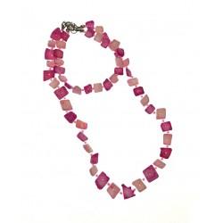 Pink Shell Necklace & Bracelet Set