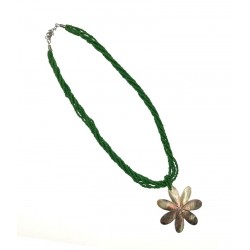 MOP Flower Shell Pendant Necklace