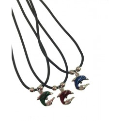 Circle Dolphin Pendant Necklace