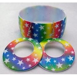 Rainbow Star Bangle & Earring Set