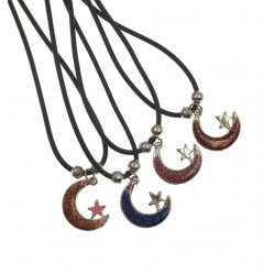 Moon & Star Pendant With Black Cord Necklace