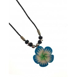 Fimo Flower Necklace - Blue
