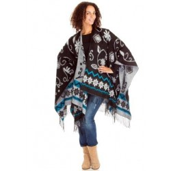 Flower Motif Winter Poncho (Black/White)