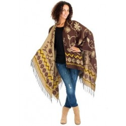 Flower Motif Winter Poncho (Brown/Camel)