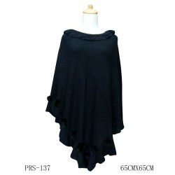 Black Winter Poncho With Rabbit Fur