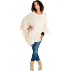 Cream Winter Poncho With Rabbit Fur