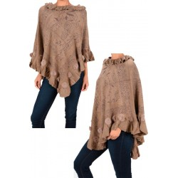 Rosy Brown Winter Poncho With Rabbit Fur
