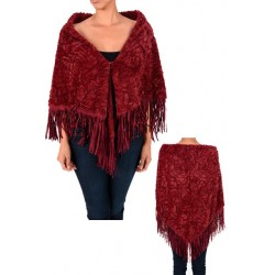 Burgundy Faux Fur Shawl