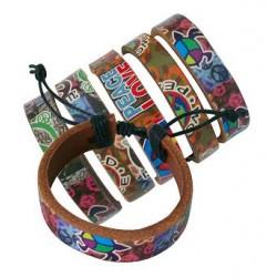 World Peace Love Flash Leather Bracelets