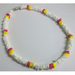Yellow & Pink Rose Clam Shell Necklace - CASE