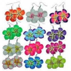 Fimo Flower Earrings with Crystals