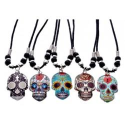 Sugar Skulls Pendant Black Cord Necklace