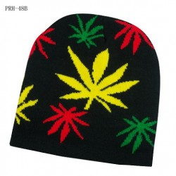 Rasta Colored Leaf Beanies