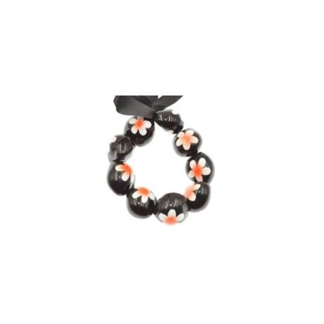 Orange Plumeria Flower Kukui Nut Bracelets