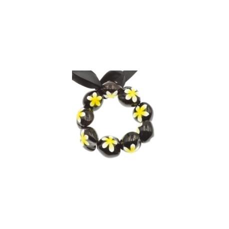 Yellow Plumeria Flower Kukui Nut Bracelets