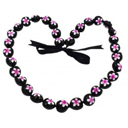 Fuschia Plumeria Flower Kukui Nut Necklace