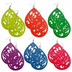 Neon Colored Carved Wood Earrings