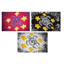 Hand Painted Turtle Sarong With Plumeria Flowers