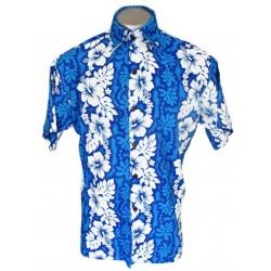 Men's Blue and Turquoise Aloha Shirt Medium / Large