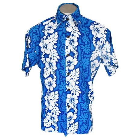 Men's Blue and Turquoise Aloha Shirt Medium / Large
