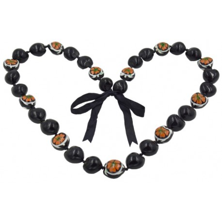 Orange Hibiscus White Turtle Kukui Nut Lei / Necklace