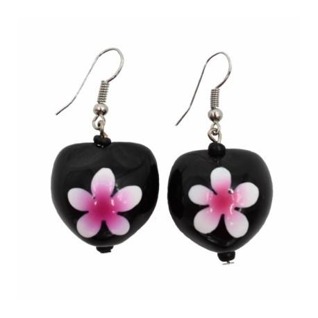 Pink Plumeria Flower Kukui Nut Earrings