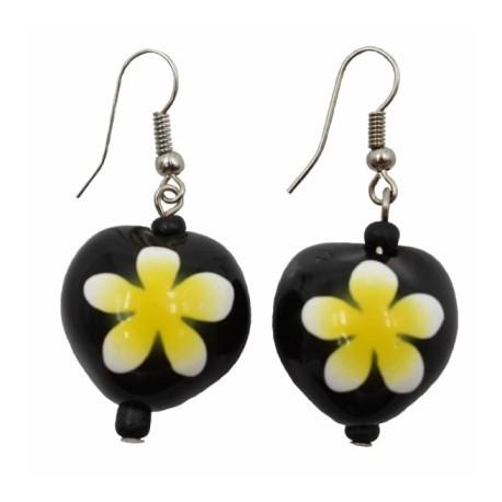 Yellow Plumeria Flower Kukui Nut Earrings