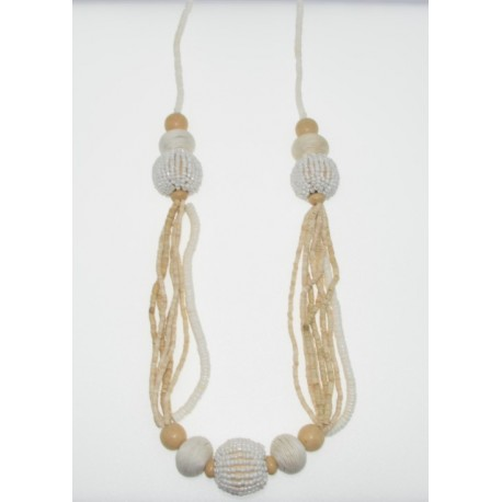 White Clam Shell With Long Wood Necklace