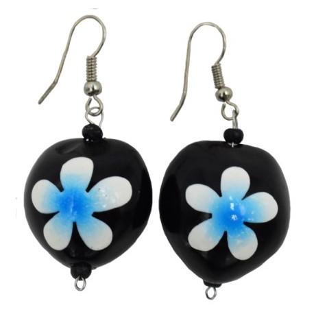 Blue Plumeria Flower Kukui Nut Earrings