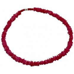 Rose Clam Shell Necklace - Red