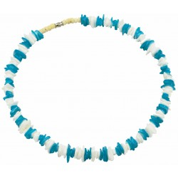 Turquoise & White Rose Clam Shell Necklace