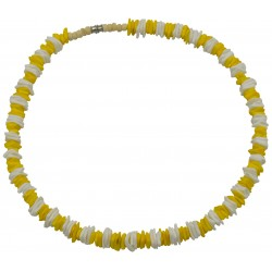 Yellow & White Rose Clam Shell Necklace