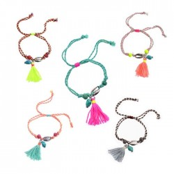 Cowrie Shell Turquoise Charm Bracelets With Tassel