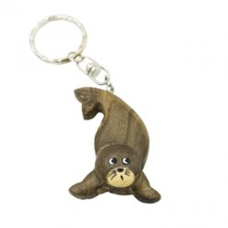 Wooden Sea Lion Key Chain