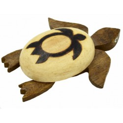 Large Wooden Burn Sea Turtle Magnet